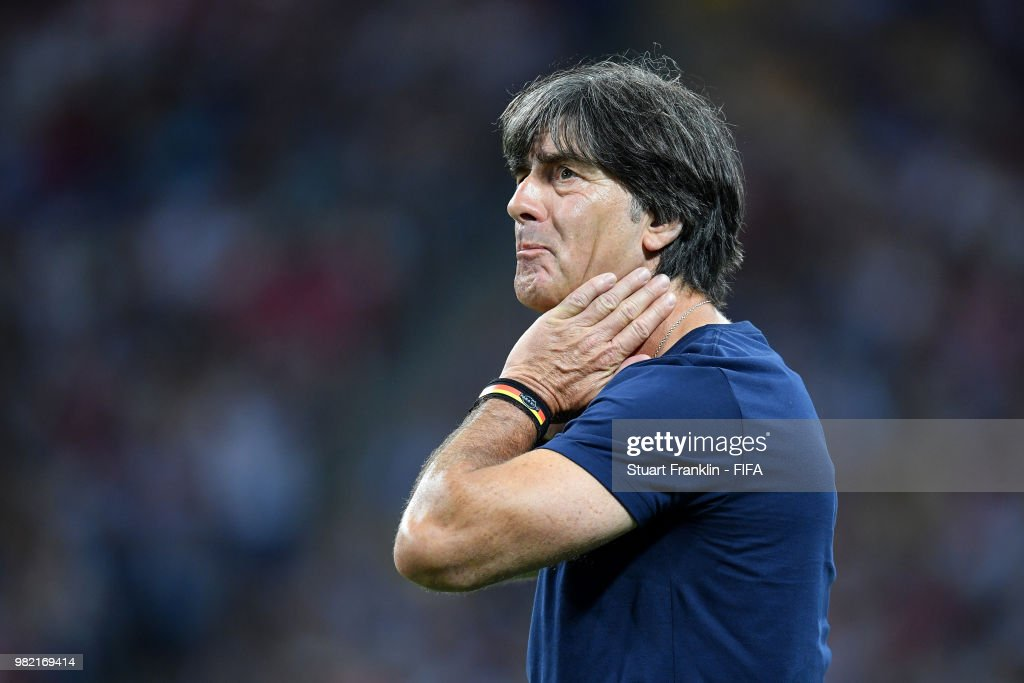 Joachim Loew, Manager of Germany reacts during the 2018 FIFA World Cup Russia group F match between Germany and Sweden at Fisht Stadium on June 23, 2018 in Sochi, Russia.