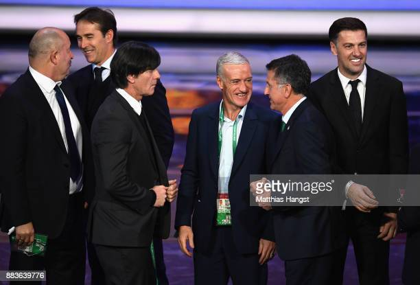 Joachim Loew Manager of Germany speaks to Didier Deschamps Manager of France after the Final Draw for the 2018 FIFA World Cup Russia at the State...