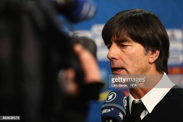 Joachim Loew Manager of Germany speaks to the media during the Final Draw for the 2018 FIFA World Cup Russia at the State Kremlin Palace on December...