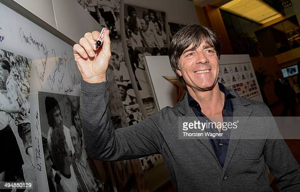 Joachim Loew poses during the German Football Association wolrd champions party at Intercontinental Hotel on May 31 2014 in Duesseldorf Germany