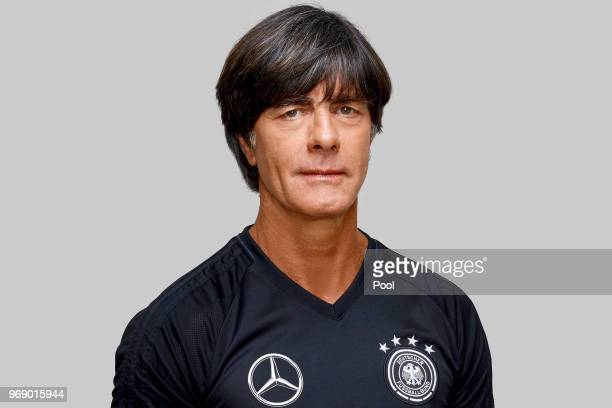 Joachim Loew poses for a photo during a portrait session ahead of the 2018 FIFA World Cup Russia at Eppan training ground on June 5 2018 in Eppan...