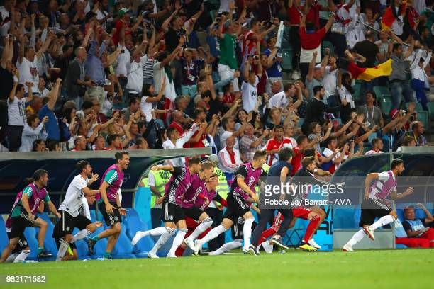 Joachim Low head coach / manager of Germany and the Germany bench celebrate after Toni Kroos of Germany scored a goal to make it 21 during the 2018...
