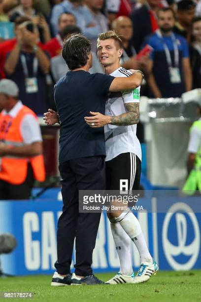 Joachim Low head coach / manager of Germany celebrates with Toni Kroos of Germany at full time during the 2018 FIFA World Cup Russia group F match...