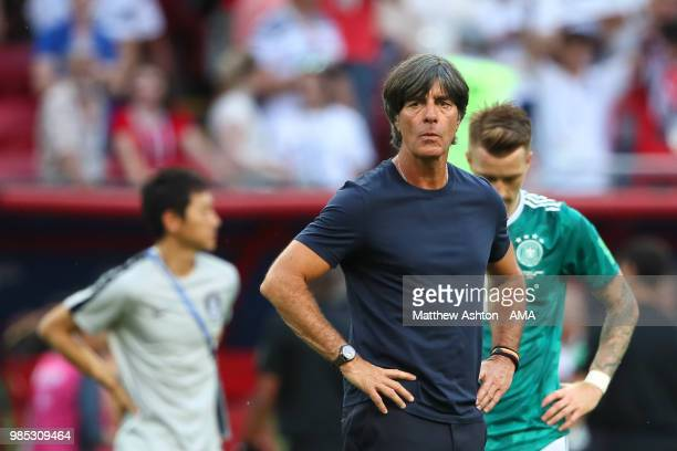 Joachim Low head coach / manager of Germany looks dejected at the end of the 2018 FIFA World Cup Russia group F match between Korea Republic and...