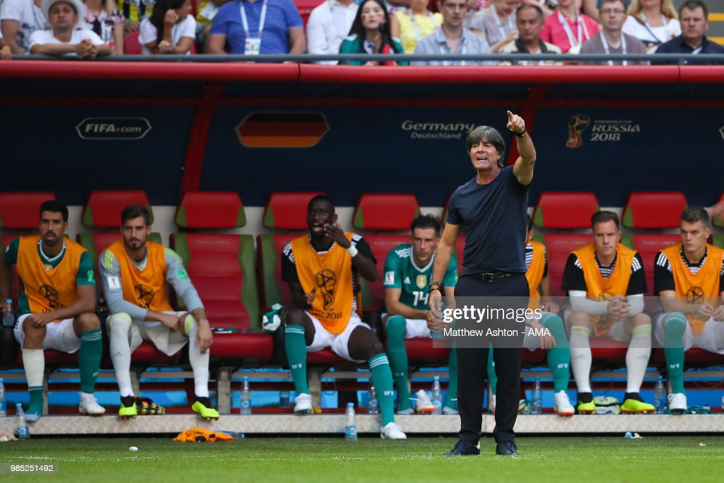 Joachim Low head coach / manager of Germany reacts during the 2018 FIFA World Cup Russia group F match between Korea Republic and Germany at Kazan Arena on June 27, 2018 in Kazan, Russia.
