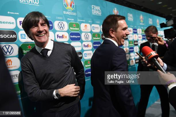 Joachim Low head coach of Germany and Philipp Lahm meet press members after the UEFA Euro 2020 Final Draw Ceremony on November 30 2019 in Bucharest...