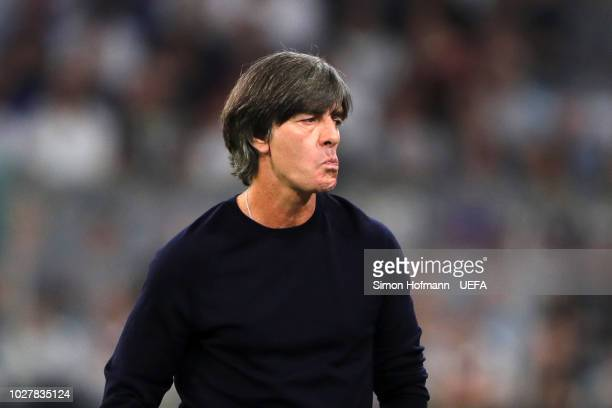 Joachim Low Manager of Germany looks on during the UEFA Nations League Group A match between Germany and France at Allianz Arena on September 6 2018...