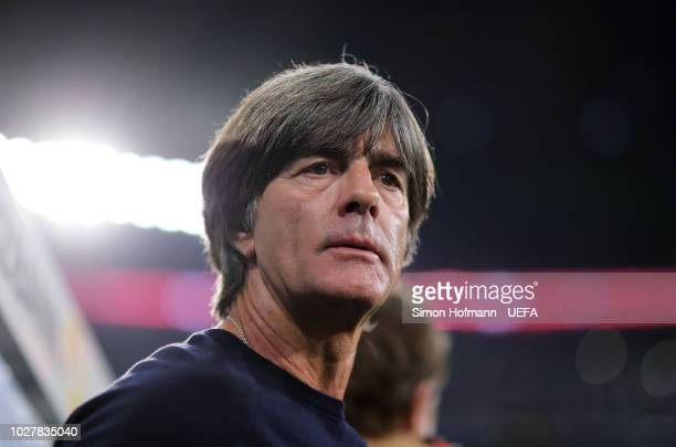 Joachim Low Manager of Germany looks on prior to the UEFA Nations League Group A match between Germany and France at Allianz Arena on September 6...