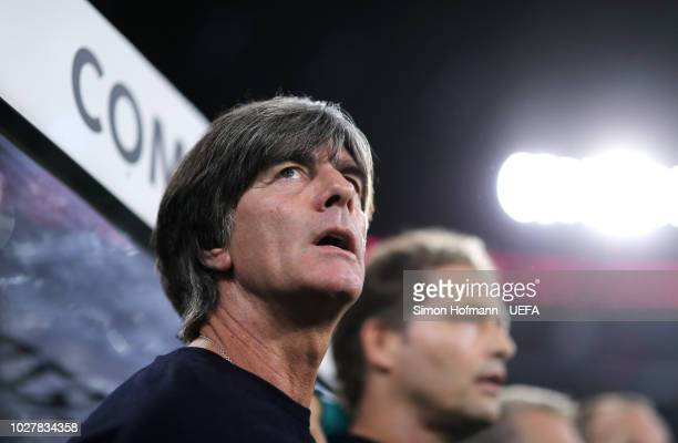 Joachim Low Manager of Germany sings the national anthem prior to the UEFA Nations League Group A match between Germany and France at Allianz Arena...