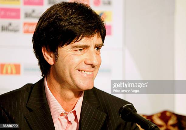 Joachim Low smiles during the press conference of the German Football National team on October 6 2005 in Istanbul Turkey