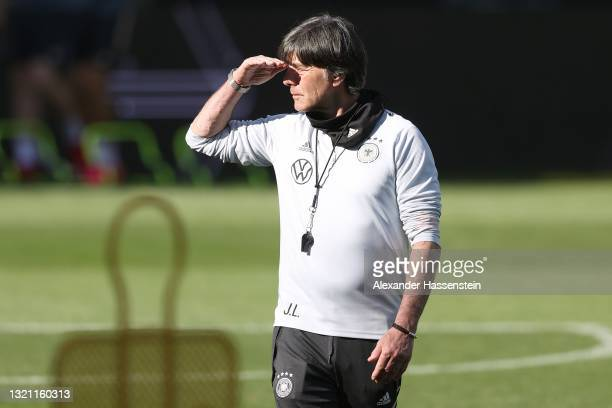 Joachim Löw, head coach of Germany looks on during a training session of the German national team at Tivoli Stadion on June 01, 2021 in Innsbruck,...