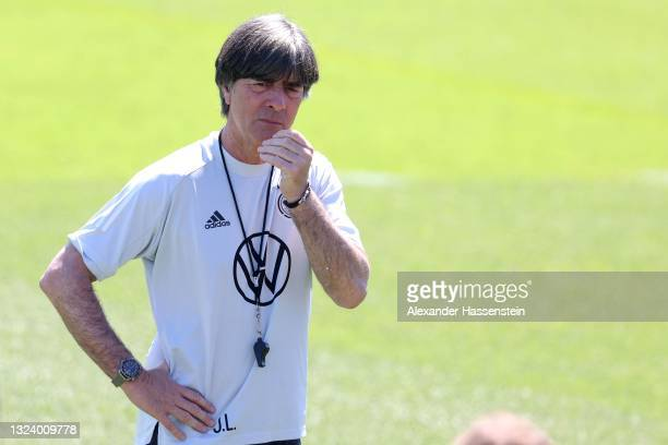 Joachim Löw, head coach of Germany looks on during a training session of team Germany at the team Germany EURO2020 training camp at Herzo-Base on...