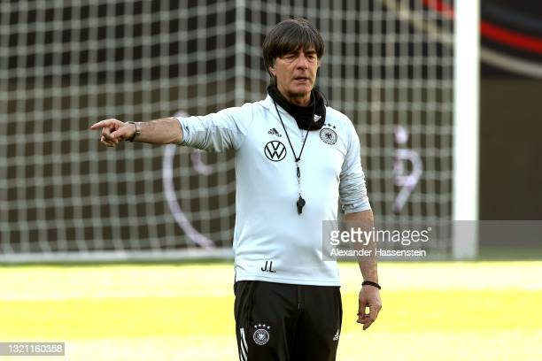 Joachim Löw, head coach of Germany reacts during a training session of the German national team at Tivoli Stadion on June 01, 2021 in Innsbruck,...