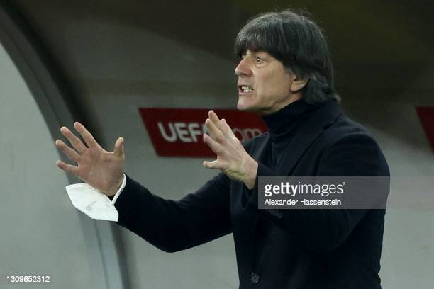 Joachim Löw, head coach of Germany reacts during the FIFA World Cup 2022 Qatar qualifying match between Romania and Germany at Arena Nationala on...