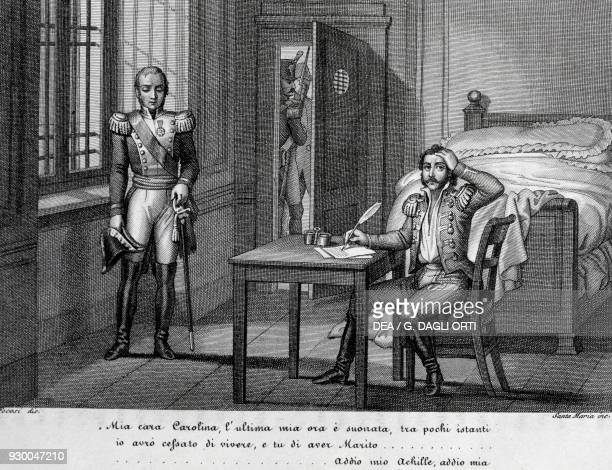 Joachim Murat writing his last letter to his wife Caroline Bonaparte from Pizzo Calabro prison Italy drawing by Roberto Focosi engraving by Carlo...