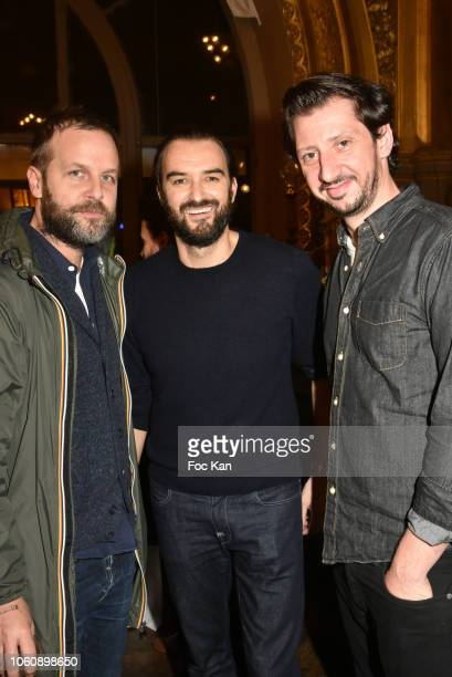 Joachim Roncin chef Cyril Lignac and comedian Monsieur Poulpe attend 'Les Fooding 2019' Ceremony at Le Train Bleu on November 12 2018 in Paris France