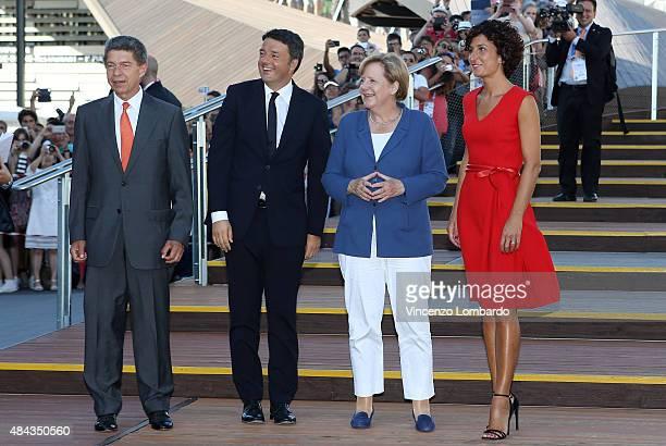 Joachim Sauer Italian Prime Minister Matteo Renzi German Chancellor Angela Merkel and Agnese Landini visit the German Pavilion at the Expo 2015 on...