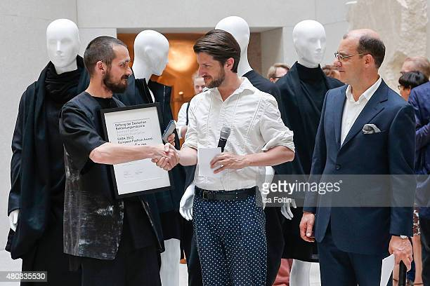 Joachim Schirrmacher Michael Sontag and Kai Gerhardt during the award ceremony European Fashion Award FASH 2015 by SDBI at Neues Museum Berlin on...