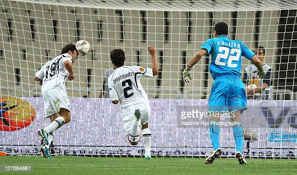 Joachim Standfest of Sturm scores an own goal during the UEFA Europa League Group L match between AEK Athens and Sturm Graz at OAKA Stadium on...