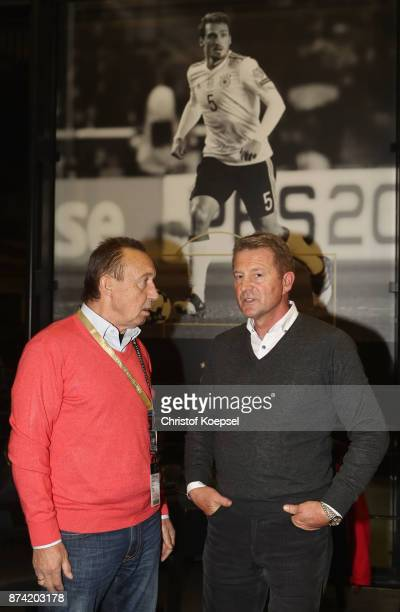 Joachim Streich and Karlheinz Foerster talk during the Club Of Former National Players Meeting at RheinEnergieStadion on November 14 2017 in Cologne...