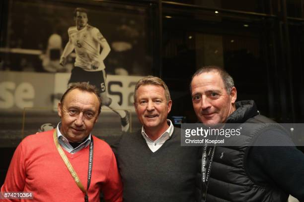 Joachim Streich Karlheinz Foerster and Uwe Bein pose during the Club Of Former National Players Meeting at RheinEnergieStadion on November 14 2017 in...