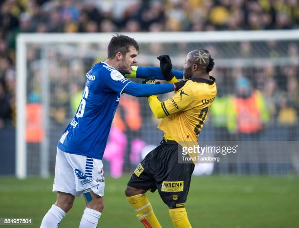Joachim Thomassen Chigozie Udoji during Norway Cup Final between Sarpsborg 08 v Lillestrom at Ullevaal Stadion on December 3 2017 in Oslo Norway