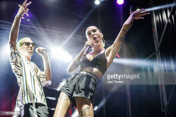 Joaco J Fox and Karma Cereza of Mueveloreina perform in concert during the Festival Internacional de Benicassim on July 21, 2019 in Benicassim, Spain.