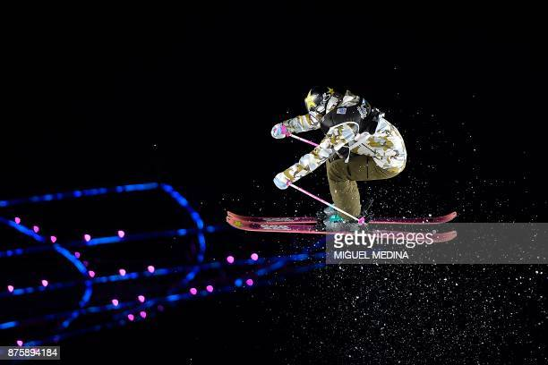 Joahanne Killi from Norway competes during the Women's final at the FIS Freestyle World Cup 'Big Air' in Milan on November 18 2017 / AFP PHOTO /...