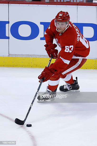 Joakim Andersson of the Detroit Red Wings controls the puck during Game Three of the Western Conference Quarterfinals against the Anaheim Ducks...