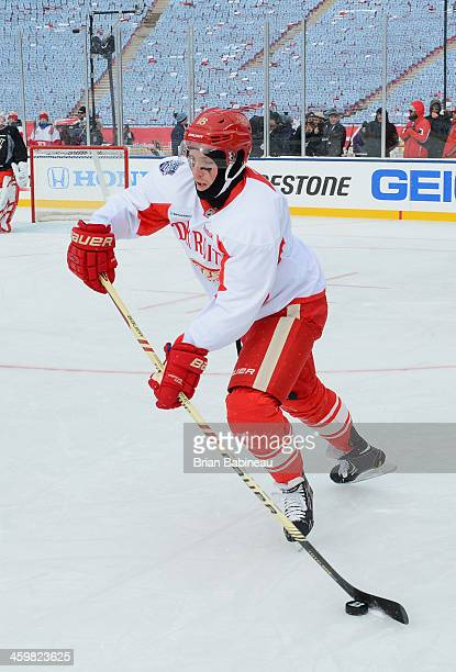 Joakim Andersson of the Detroit Red Wings controls the puck during the 2014 Bridgestone NHL Winter Classic team practice session on December 31 2013...