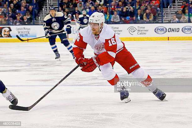 Joakim Andersson of the Detroit Red Wings controls the puck during the game against the Columbus Blue Jackets on March 25 2014 at Nationwide Arena in...