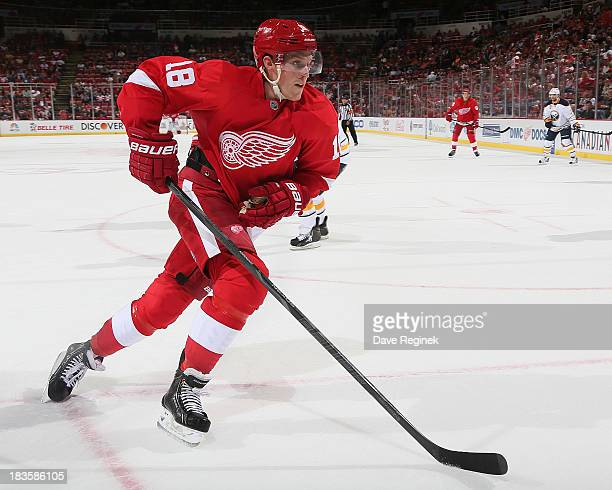 Joakim Andersson of the Detroit Red Wings follows the play against the Buffalo Sabres during a NHL game at Joe Louis Arena on October 2 2013 in...