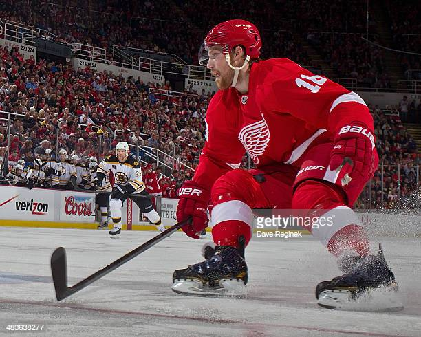 Joakim Andersson of the Detroit Red Wings follows the play against the Boston Bruins during an NHL game on April 2 2014 at Joe Louis Arena in Detroit...