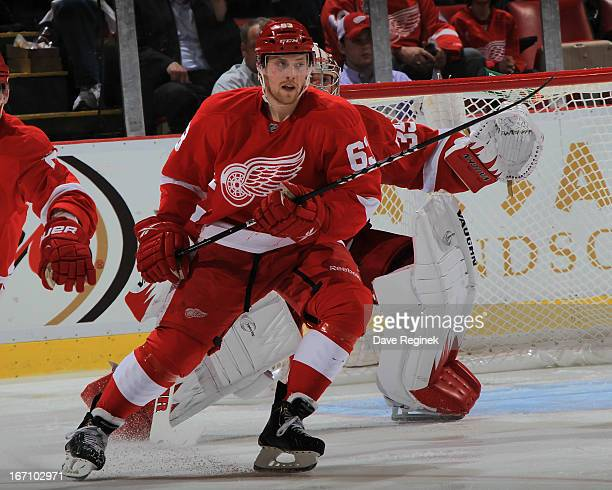 Joakim Andersson of the Detroit Red Wings follows the play during a NHL game against the San Jose Sharks at Joe Louis Arena on April 11 2013 in...
