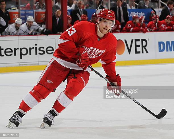 Joakim Andersson of the Detroit Red Wings follows the play during a NHL game against the Los Angeles Kings at Joe Louis Arena on April 24 2013 in...