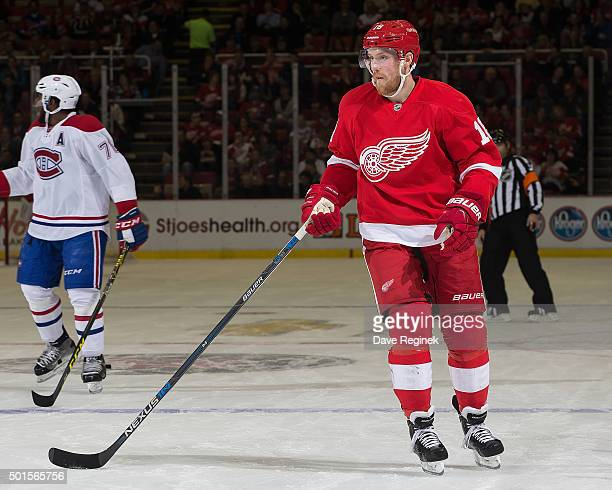 Joakim Andersson of the Detroit Red Wings follows the play during an NHL game against the Montreal Canadiens at Joe Louis Arena on December 10 2015...