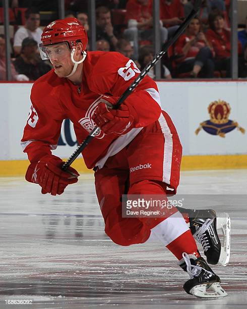 Joakim Andersson of the Detroit Red Wings follows the play during Game Four of the Western Conference Quarterfinals during the 2013 NHL Stanley Cup...