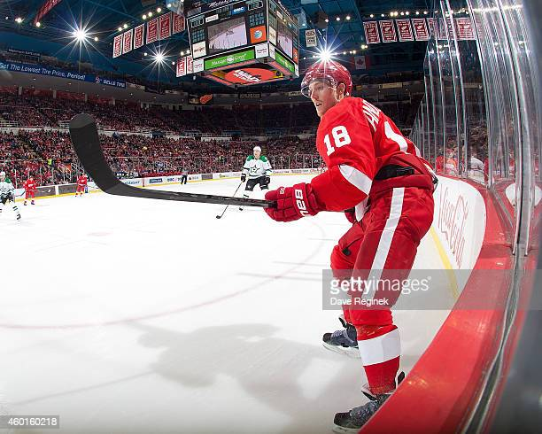 Joakim Andersson of the Detroit Red Wings follows the play in the corner during a NHL game against the Dallas Stars on December 4 2014 at Joe Louis...