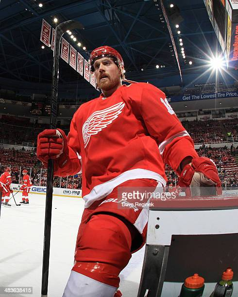 Joakim Andersson of the Detroit Red Wings leaves the ice after warmups before an NHL game against the Boston Bruins on April 2 2014 at Joe Louis...