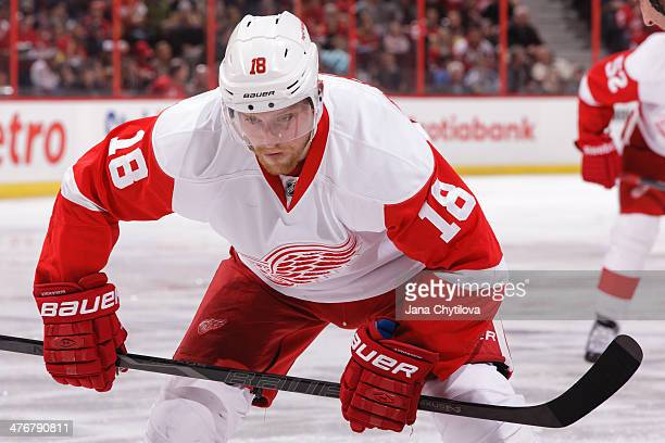 Joakim Andersson of the Detroit Red Wings prepares for a faceoff against the Ottawa Senators during an NHL game at Canadian Tire Centre on February...