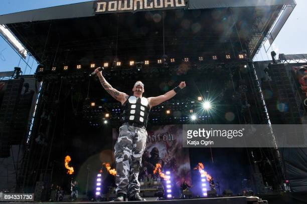 Joakim Broden of the Swedish band Sabaton performing live on Day 1 of Download Festival at Donington Parkl on June 9 2017 in Castle Donington UK