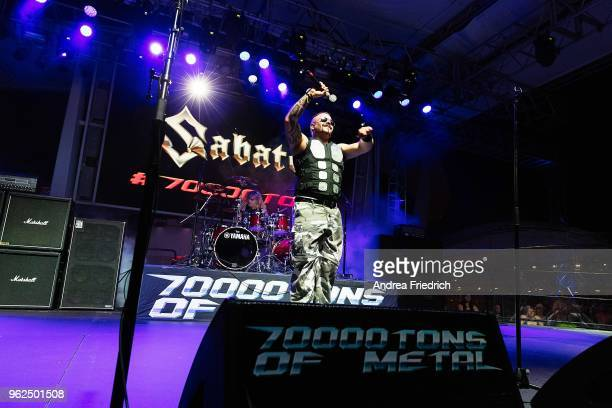 Joakim Brodén of Sabaton performs onboard the cruise liner 'Independence of the Seas' during the '70000 Tons of Metal' Heavy Metal Cruise Festival on...