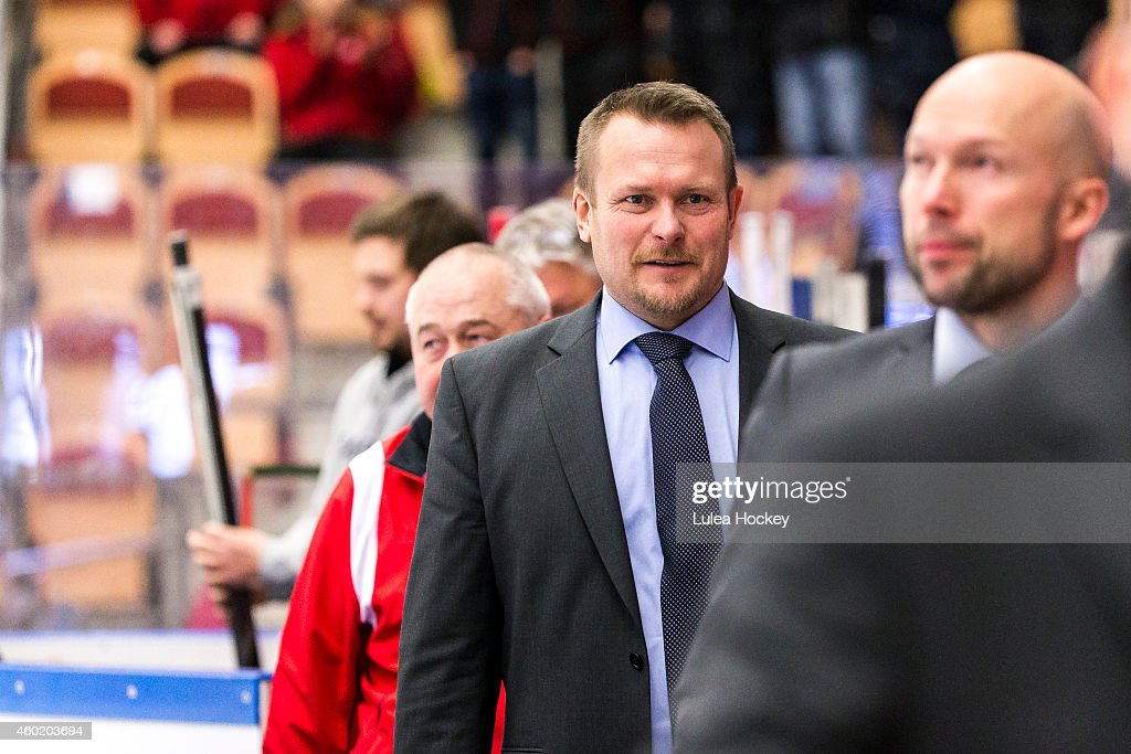 Joakim Fagervall coach of Lulea Hockey is happy after victory during the Champions Hockey League quarter final second leg game between Lulea Hockey and Lukko Rauma at Coop Norrbotten Arena on December 9, 2014 in Lulea, Sweden.