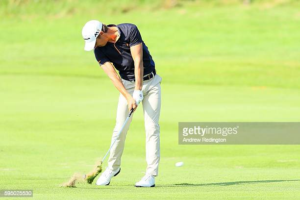 Joakim Lagergren of Sweden hits his second shot on the 9th hole during the first round of Made in Denmark at Himmerland Golf Spa Resort on August 25...