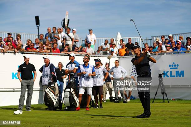 Joakim Lagergren of Sweden hits his tee shot on the 14th during the third round on day three of the KLM Open at The Dutch on September 10 2016 in...