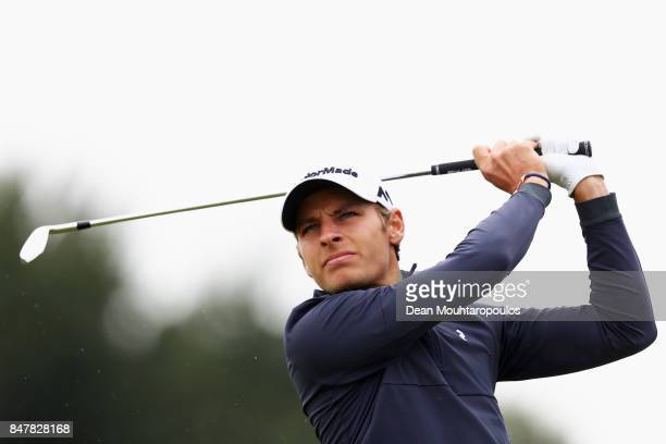 Joakim Lagergren of Sweden hits his tee shot on the 4th hole during day 3 of the European Tour KLM Open held at The Dutch on September 16 2017 in...