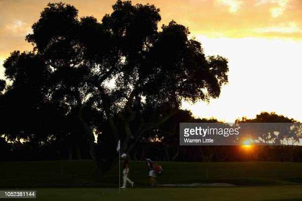 Joakim Lagergren of Sweden is pictured on the 18th green ahead of the Andalucia Valderrama Masters at Real Club Valderrama on October 17 2018 in...