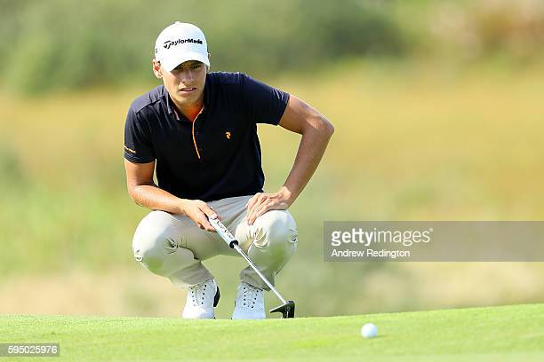 Joakim Lagergren of Sweden lines up on the 9th green during the first round of Made in Denmark at Himmerland Golf Spa Resort on August 25 2016 in...