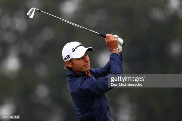 Joakim Lagergren of Sweden plays his 2nd shot on the 9th during day three of the KLM Open at The Dutch on September 16 2017 in Spijk Netherlands