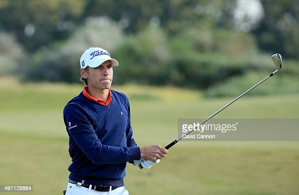 Joakim Lagergren of Sweden plays his second shot on the 9th hole during the third round of the 2015 Alfred Dunhill Links Championship at Kingsbarns...